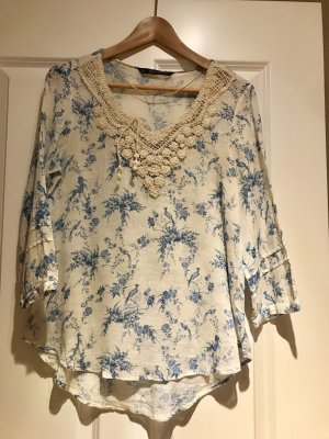 Zara Basic Linen Blouse white-cornflower blue