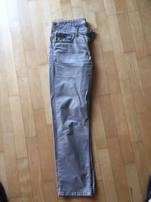Cambio Jeans Pantalón de color caqui gris verdoso-verde grisáceo Algodón