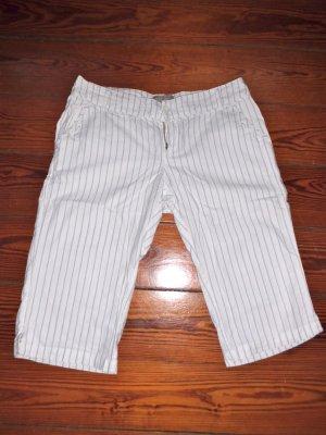 Mango Pantalone a 3/4 bianco-nero Cotone