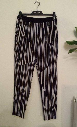 H&M Peg Top Trousers white-black cotton