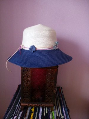 Cloche Hat blue-pale yellow
