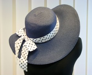 Hat white-dark blue mixture fibre