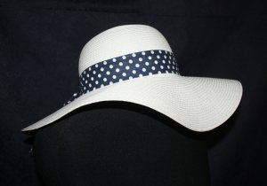 Sun Hat white-dark blue