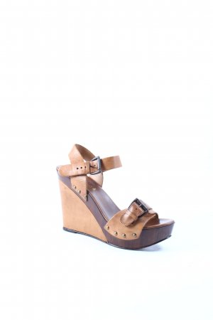 Sommerkind Wedges Sandaletten braun-dunkelbraun Materialmix-Look
