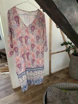 grain de malice Robe en jersey or rose-bleuet