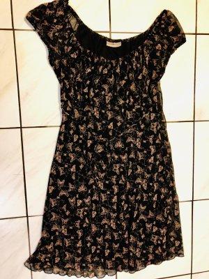 Clockhouse Robe épaules nues noir-abricot