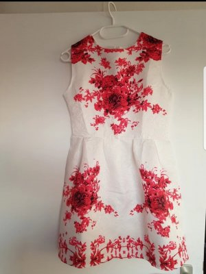 vestido de globo rojo ladrillo-blanco Algodón