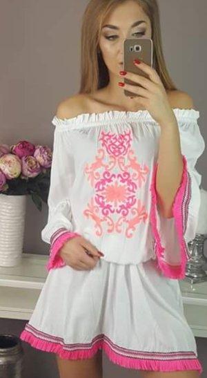 Mini vestido blanco-rojo claro