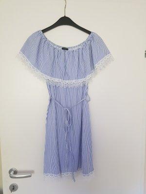 Colloseum Vestido strapless blanco-azul celeste