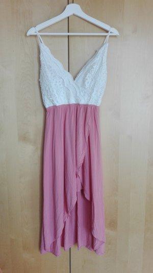 Review Jurk met langere achterkant wit-roze Polyester