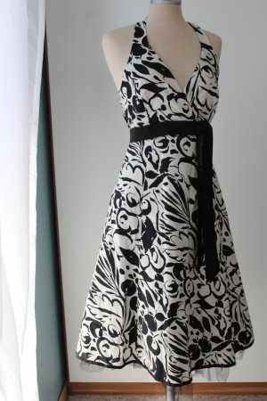 Sommerkleid A- Linie Midikleid knielang retro Sixth Sense Gr. 34 schwarz weiß