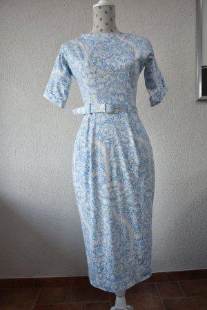 Asos Pencil Dress white-neon blue cotton
