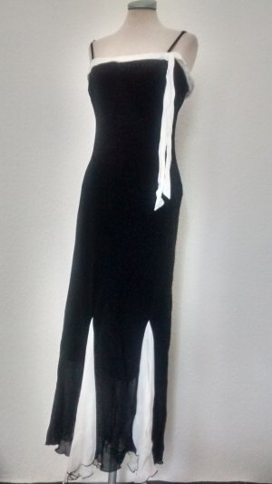 Sommerkleid Abendkleid Gr. UK 14 EUR 42 schwarz weiß Kleid lang Chiffon Wallis