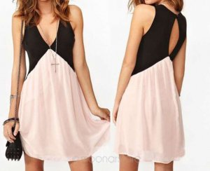 Pinafore dress light pink-black