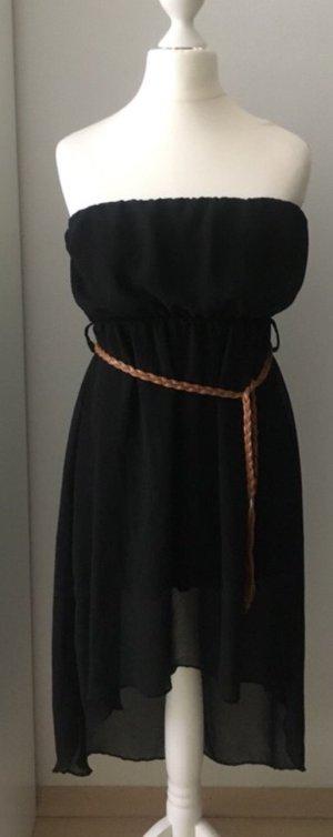 Jurk met langere achterkant zwart-cognac