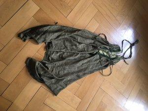 Halter Dress green grey-forest green silk