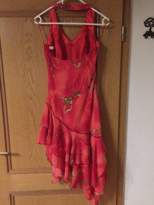 Ren Vestido de cuello Halter rojo ladrillo-verde bosque