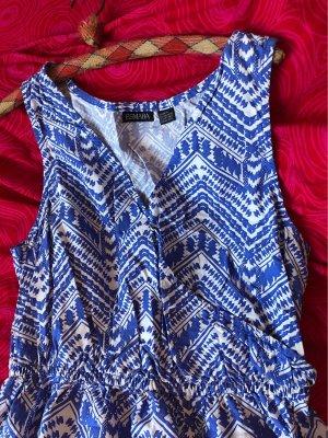 Esmara Vestido playero azul acero-blanco