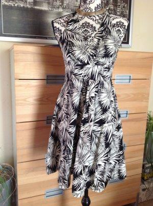 H&M Vestido de cuello Halter blanco-negro Algodón