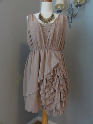 H&M Corsage Dress beige-nude polyester