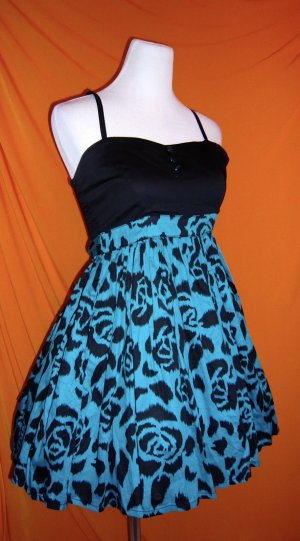 Corsage Dress black-neon blue mixture fibre