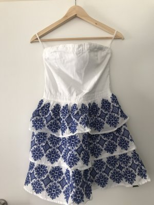 Superdry Vestido strapless blanco-azul