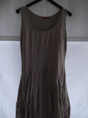 vestido de globo caqui-marrón arena Lino