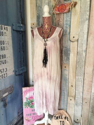 Made in Italy Vestido Hippie blanco-malva Viscosa