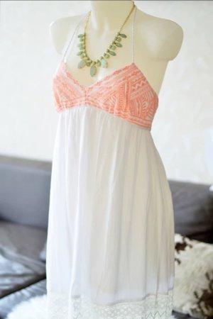 Robe de plage blanc-orange