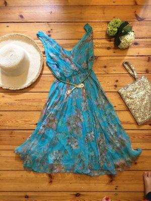 Sommerkleid Festliches Kleid Gr L türkis mit Blumenmuster