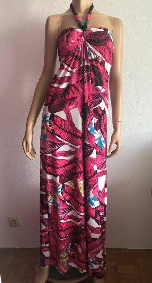 Sommerkleid Gr. 36/38 Maxikleid Strandkleid langes Kleid Pink Bandeaukleid Maxi