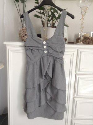 Sommerkleid / grau-weiß / Gr. 36 S