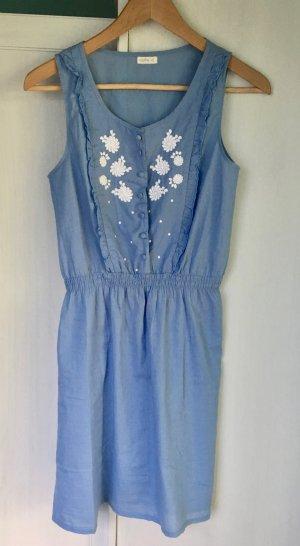 Sommerkleid Hippie Stickerei Blumen blau weiß Oysho Gr. S
