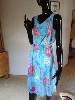 Sommerkleid in den schönsten Sommerfarben mit Wasserfallausschnitt Gr.36