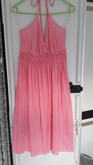Sommerkleid in Pink mit weißen Punkten und tollem Ausschnitt