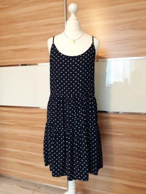 Jaqueline de Yong Volante jurk wit-donkerblauw
