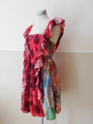 Sommerkleid Kleid kurz Traffic People Gr. M 38 Seidenkleid Seide gerüscht