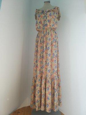 Sommerkleid Kleid lang geblümt Blumen Gr. UK 10 EUR 38 S M gelb blau Next Maxikleid