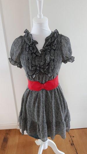 Sommerkleid knielang schwarz weiss #Sommerkleid# #Rüschen#