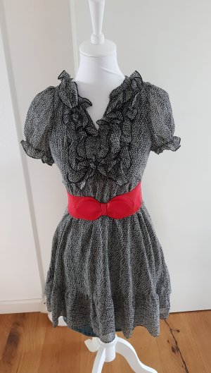 H&M Vestido babydoll negro-blanco