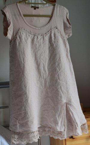 Sommerkleid Leinen beige-rosa Größe L