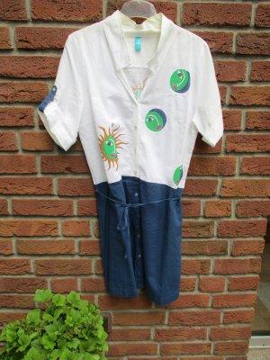 Beach Dress blue-natural white linen