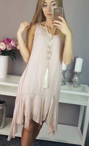 Mini vestido rosa empolvado Seda