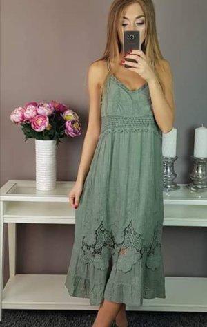 Kanten jurk sleutelbloem-olijfgroen