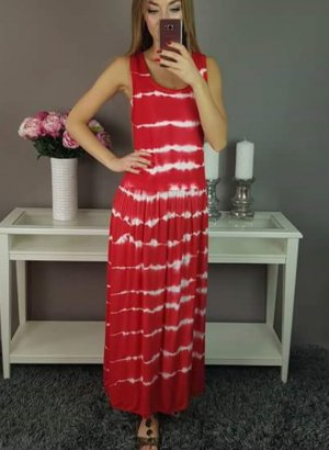 Maxi Dress neon red-white