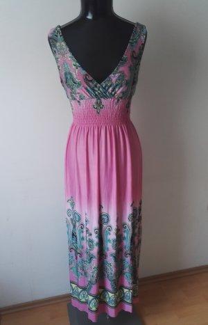 Sommerkleid Maxikleid Kleid in Pink mit Pfaum. Gr.36-38