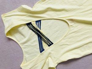 Vestido playero amarillo pálido-azul oscuro