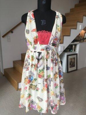 Sommerkleid mit Blumen und Katzen von Killah Gr. 36