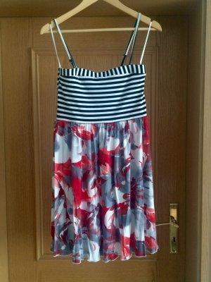Sommerkleid mit Bretonstreifen und Blumenmuster Gr. 36 / 38 abnehmbare Straps