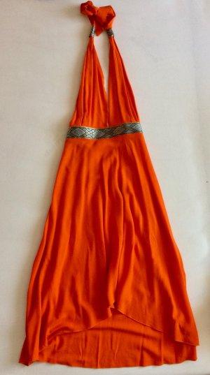 Sommerkleid orange, handbestickt